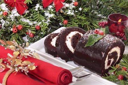 traditional christmas: Traditional Christmas cake Stock Photo