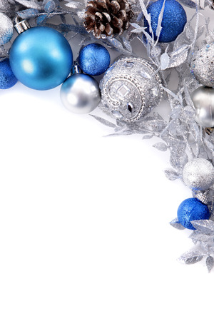 blue border: Christmas border with traditional decorations. Space for copy.