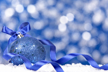 blue border: Christmas background with traditional decorations and copy space