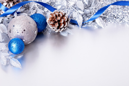 blue christmas background: Christmas border with traditional decoration. Space for copy.
