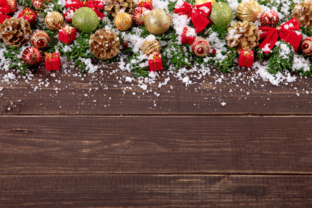 copyspace: Christmas decoration border on wood background with copyspace