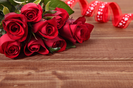 Valentine roses with red ribbon