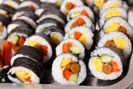 nori: Row of nori sushi