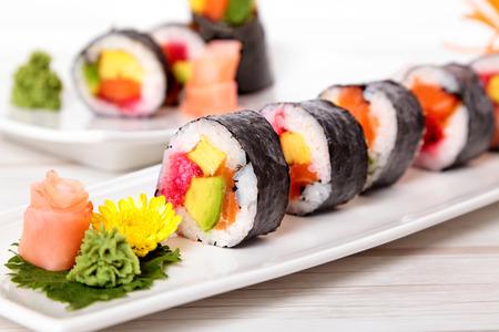 maki sushi: Row of maki sushi