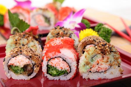 california roll: California roll sushi displayed on tray