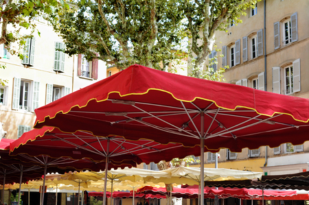 canopy: Cafe canopy in village square in South of France