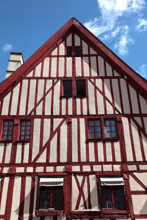 timbered: Traditional Burgundy timbered building in Dijon, France
