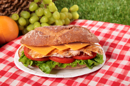 Picnic basket chicken salad baguette sandwich Stock Photo