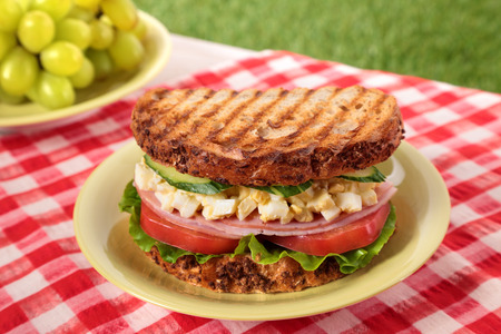 Ham and egg picnic sandwich on summer outdoor table