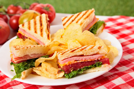 crisps: Summer picnic club sandwich ham and cheese, potato crisps