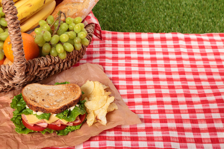 picnic tablecloth: Picnic basket toasted ham and cheese sandwich, copy space Stock Photo