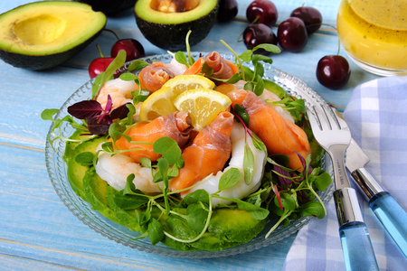 Salmon and prawn summer salad Stock Photo