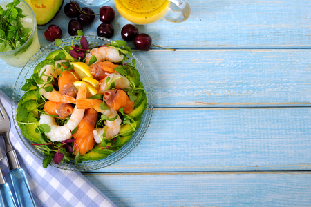 Salmon and prawn summer salad top view Stock Photo