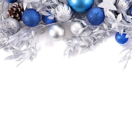 Bordure de Noël avec carré de décorations bleu et argent