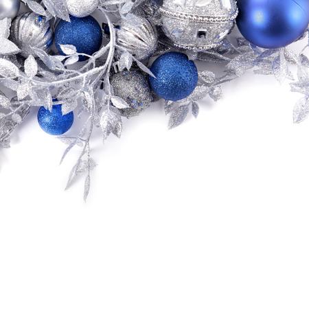 Weihnachtsgrenze mit blauem und silbernem Dekorationsquadrat