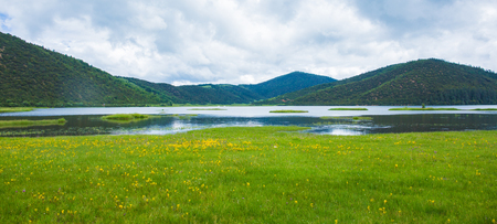 Beautiful scenic view of the mountains by the lake Stock Photo
