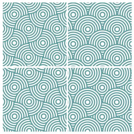 overlap: Set of four circle lines overlap diagonal pattern