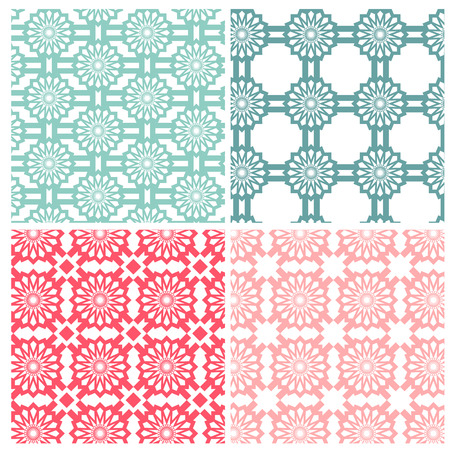 Abstract geometric flower patterns