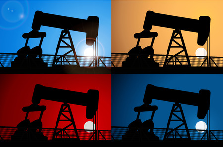 time critical: Sunrise and oil rig,Sunset and oil rig,oil price crisis,oil rig at night, Vector background
