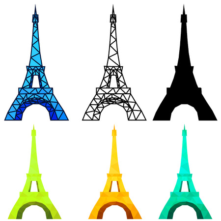 Art of Eiffel Tower, Low poly, Outline, silhouette and mosaic. isolated on white background