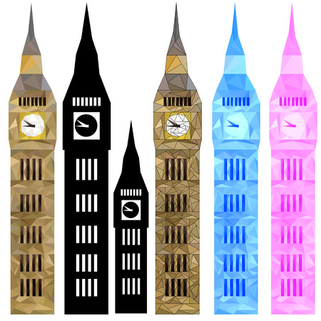 bigben: Color Vector Big ben in low poly, mosaic, silhouette ,icon,ice and pink valentine color on white background