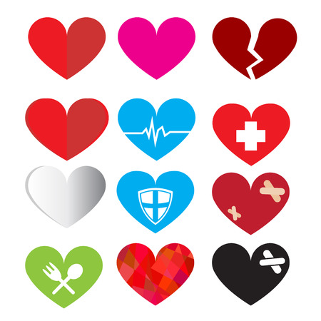 wounded heart: Set of vector heart symbol Illustration
