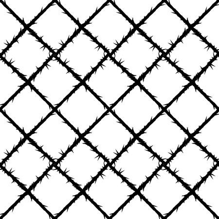 tel kafes: diken tel örgü deseni, yasak bölge vektör arka plan