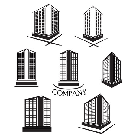 building construction: Set of Company building Vector logo and icon Illustration