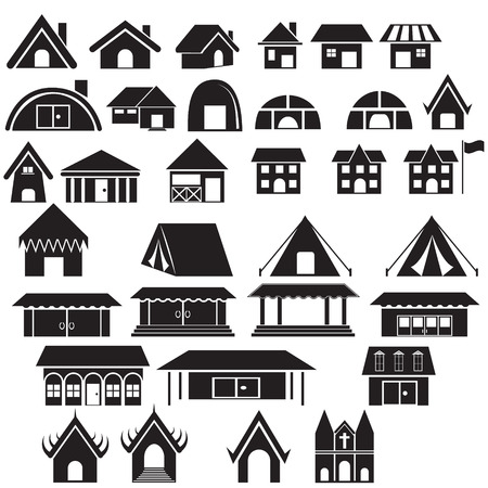 Set of tradition home style  and other building vector icon and logo Vector