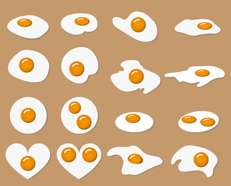 yolk: Collection of vector fried egg in many shape with color yolk and albumen