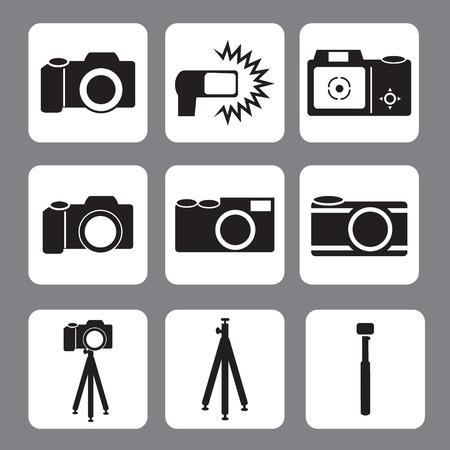 dslr camera: DSLR Camera, flash, tripod, monopod in vector icon,illustration