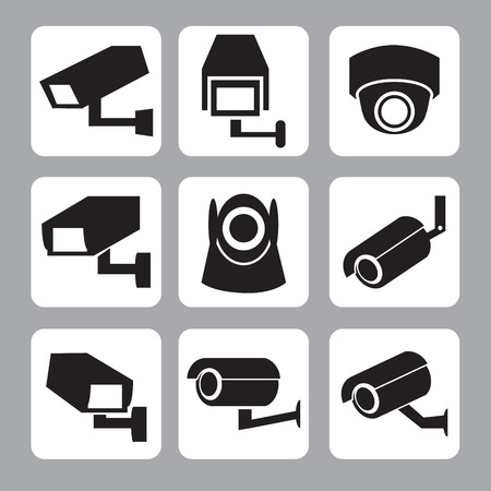 Collection de la vidéosurveillance et de la caméra de sécurité vecteur, icône, illustration
