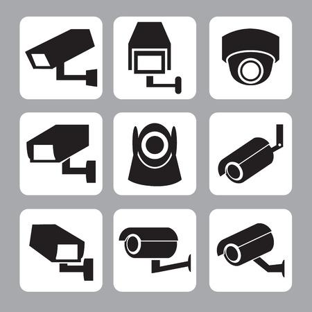 macchina fotografica: Raccolta di telecamere a circuito chiuso e telecamera di sicurezza icona vettore, illustrazione Vettoriali