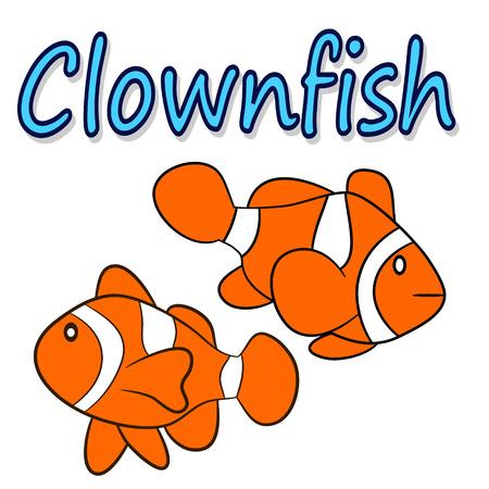 peces payaso: Ilustraci�n de un pez payaso aislado
