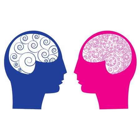 cabeza de mujer: Resumen masculino vs cerebro femenino piensa capacidad idea. Cerebro humano Espiral