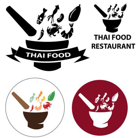 logo de comida: Logo restaurante comida tailandesa y el icono del vector con el objeto aislado Vectores