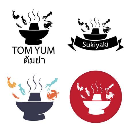 Tom Yum, Sukiyaki ,Spicy Hot pot logo and icon