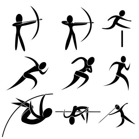 lanzamiento de jabalina: Conjunto de icono del deporte. tiro con arco, atletismo, marat�n, funcionamiento, salto con p�rtiga y lanzamiento de jabalina. deporte icono aislado del vector