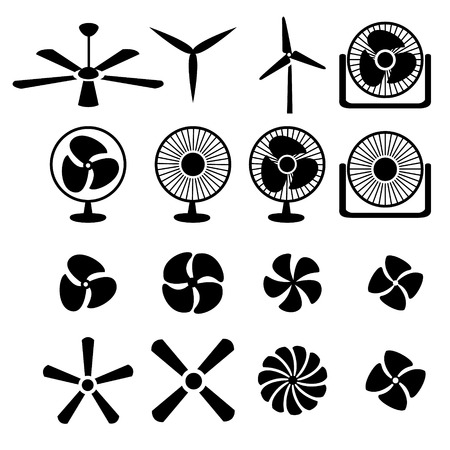electric fan: Set of fans and propellers icons
