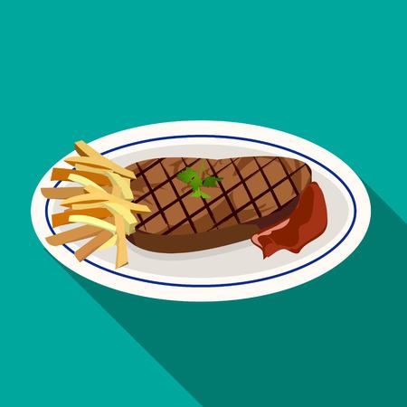 carne a la brasa: Filete de carne a la plancha con patatas fritas, la hierba verde y la salsa de tomate en el plato blanco en el estilo de icono plana Vectores