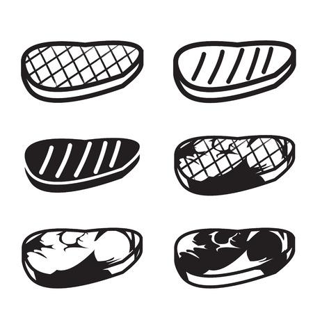 carne a la brasa: Conjunto de la parrilla la carne icono del vector, carne, carne de res y cerdo en seis estilo