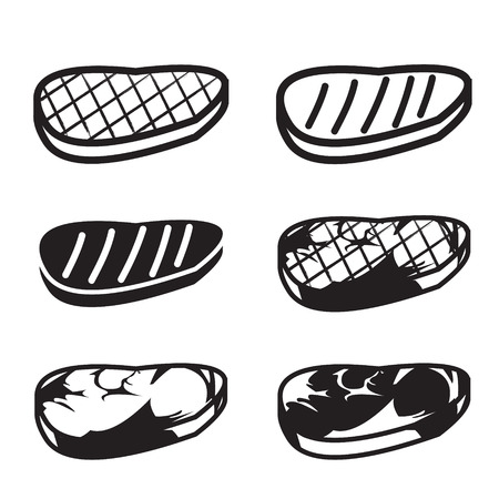 strip a cow: Set of grilled meat vector icon, meat , beef and pork in six style