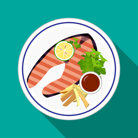 grilled salmon: Grilled Salmon steak with lemon,green herb,french fries,salad  and ketchup on white dish in flat icon style