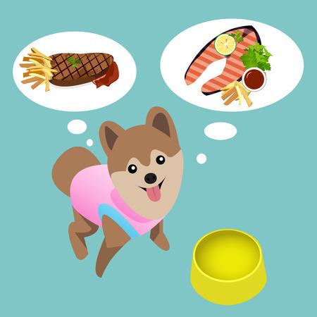 해학적 인: Pomeranian dog with empty bowl want to eat meat and salmon steak. humorous abstract background.
