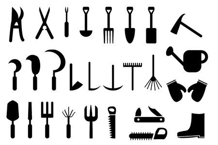 weeder: Set of Garden hand tools icons Illustration