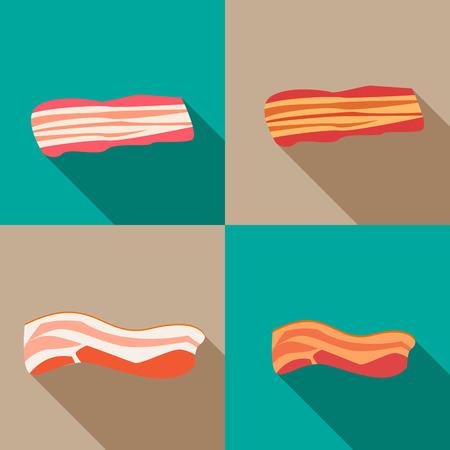 Set of smoked bacon and fresh bacon,vector Vettoriali