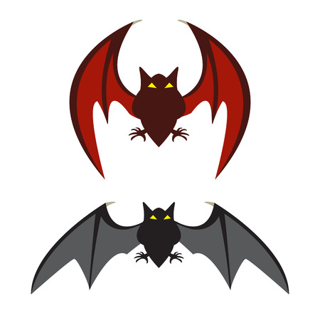 Red bat and black bat, vector