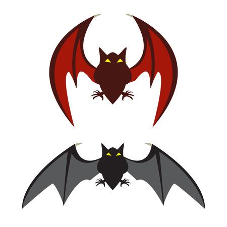 vampire cartoon: Red bat and black bat, vector