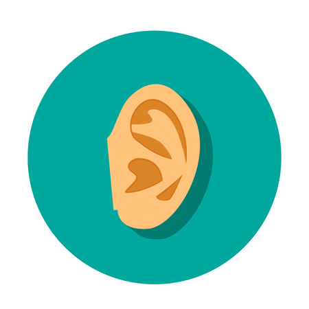 human ear icon with shadow in flat style, vector