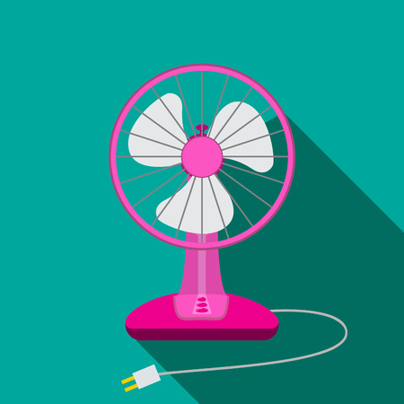 Front view of mini electric fan for home with button, vector